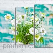 Модульна картина на полотні Квіти в вазі на фоні фарбованої стіни код КМ80106-065 фото