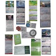 Календари настенные, квартальные, настольные, карманные в ассортименте. Изготовление по индивидуальному заказу и шаблону в т. ч. с часами. фото