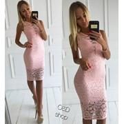 Женское модное платье с гипюром,в расцветках фото
