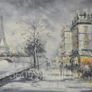 "Картина ""Парижские улочки. Эйфелева башня"" 61х91 фото"