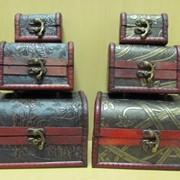 Набор деревянных сундучков 2шт.состаренных, арт. 8026 фото