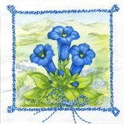Салфетка для декупажа Колокольчики в синей рамке фото