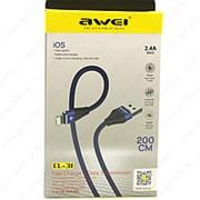 USB Data кабель Awei CL-31 2m lightning (синий с черным) фото