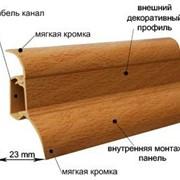 Плинтус пластиковый с кабель каналом и резиновыми краями.