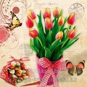 Картина стразами в 3Д Букет тюльпанов 50х50 см фото