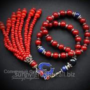 Четки, символ Ом - подвеска из тибетского серебра, коралла и лазурита, шелл, мельхиор фото