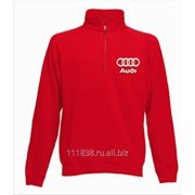 Толстовка красная Audi вышивка белая фото