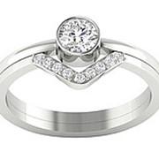 Кольцо классическое с бриллиантами I1/G 0.60 Ct фото