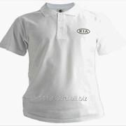 Рубашка поло Kia белая вышивка серебро фото