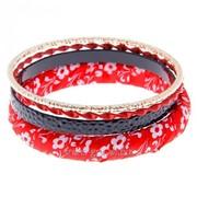 Браслет-кольца 4 кольца Цветочная палитра , цвет красно-чёрный фото