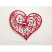 Часы Сердце красное настенные фото
