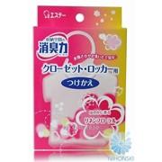 Освежитель воздуха ST Shoushuuriki для шкафов на основе желе-сенсора с ароматом льна и цветов 4901070121397 фото