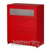 Комод с 3 ящиками красный, матовое стекло БРИМНЭС фото