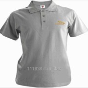 Рубашка поло Jaguar серая вышивка золото фото