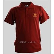 Рубашка поло Hyundai бордовая вышивка золото фото