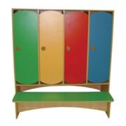 Шкаф 4-х секционный в раздевалку со скамьей фото
