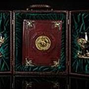 Набор «Охота» с бокалами для коньяка и книгой (с накладками) фото
