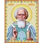 Вышью икону Св. Сергея чешским бисером не дорого на заказ. фото