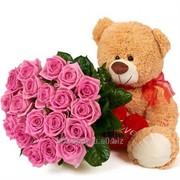 Подарочный набор Мишка с розами фото