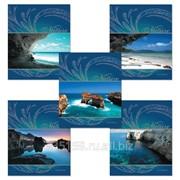 Тетрадь 48 л. Полиграфика, клетка, выборочный лак, серебро, Blue Lagoon (Лагуна) фото