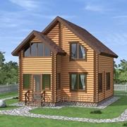 Дом из оцилиндрованного бревна диаметром 220мм, размеры: 7000*7000,80 кв.м. фото