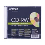 Диск CD-RW TDK 700 MB перезап. 4-12х, Slim Case фото