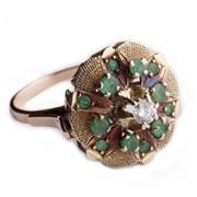 """Кольцо """"Цветок"""", украшенный изумрудами и бриллиантом фото"""
