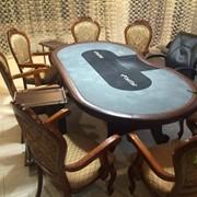 Стол покера, стулья, столики фото