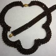 Ожерелье и браслет из чешского бисера и искусственного граната фото