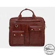 """Кожаная деловая сумка """"Вермонт"""" (коричневый) фото"""