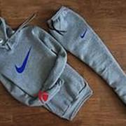 Мужской спортивный костюм Nike серый с капюшоном (большой логотип) фото