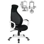 """Кресло для руководителя Brabix """"Genesis EX-517"""", пластик белый, ткань/экокожа/сетка черная фото"""