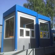 Пост охраны Тип ПО-1 размером 1,5х1,5х2,6 цвет серебристый/синий фото