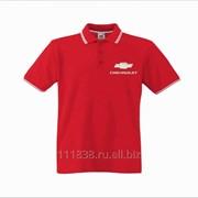 Рубашка поло Chevrolet красная с полоской фото