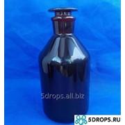 Склянка для реактивов тёмное стекло с притёртой пробкой 2500 мл (узкое горло) фото
