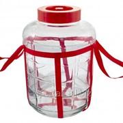Бутыль (банка) стеклянная 26 литров (с гидрозатвором) фото