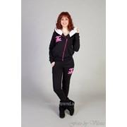 Теплый спортивный женский костюм двойка Шанель 44 Черный фото