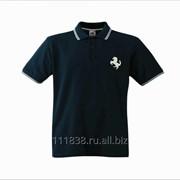 Рубашка поло Ferrari черная с полоской фото
