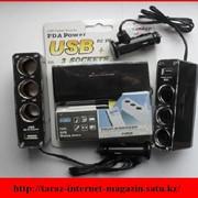 Тройник прикуривателя автомобиля + USB порт фото