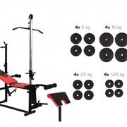 Скамья штанга гантели Hop-Sport набор 91 кг (HS-1070 + тяга + парта битумные) фото
