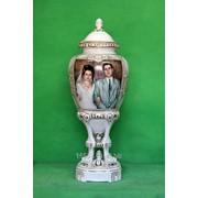 Ваза Виктория Фарфоровая свадьба 20 лет живопись спецзаказ фото
