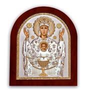 Икона Серебряная в позолоте Неупиваемая чаша Silver Axion 55 х 70 мм на деревянной основе фото