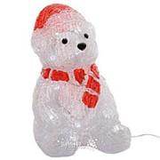 Медведь в красном колпачке и шарфе светящийся, 28 см, уличный, акрил, 30 холодных белых LED ламп, IP 44 (Kaemingk) фото
