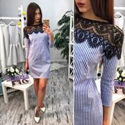 Женское хлопоковое платье с кружевом , 2 цвета фото