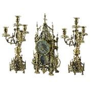 Часы каминные с канделябрами в наборе Кафедральный, золото фото