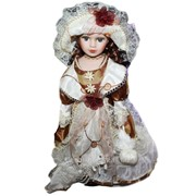 Кукла коллекционная Катрин в шляпке оливково-белом платье, 41 см 699886 фото