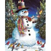 Картина по номерам Снеговик с птичками фото