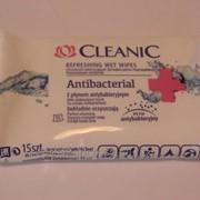 Салфетки освежающие влажные Cleanic ANTIBACTERIAL 15 шт./уп фото