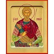 Храм Покрова Богородицы Андрей Стратилат, святой мученик, икона на сусальном золоте (дерево 2 см с ковчегом) Высота иконы 10 см фото