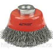 Щетка Stayer чашечная для УШМ, витая стальная проволока 0,3мм, 75мм/М14 Код:35261-075 фото